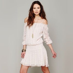Free people mini off the shoulder sheer dress